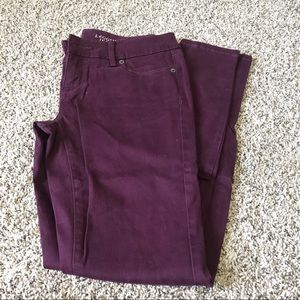 The Limited maroon legging jeans.